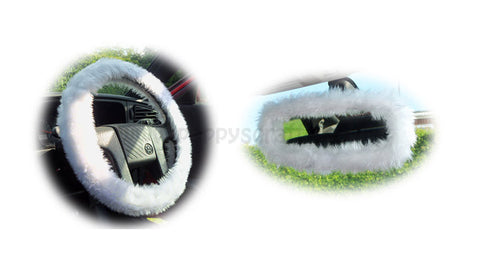 Pretty White fuzzy steering wheel cover with cute matching rearview mirror cover