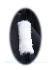 1 Pair Of Fuzzy White Fluffy Car Seatbelt Pads Faux Fur