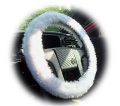 White fluffy steering wheel cover and matching faux fur seatbelt pads - Poppys Crafts