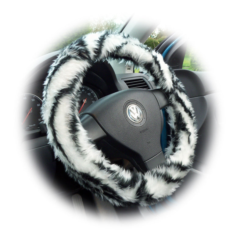Black and white tiger stripe faux fur fuzzy steering wheel cover - Poppys Crafts