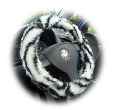 Fuzzy Faux fur Steering wheel cover in a choice of print's