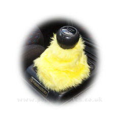 Sunshine Yellow fluffy faux fur car accessories 4 piece set - Poppys Crafts