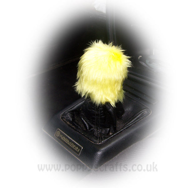 Fuzzy faux fur Bright Yellow Gearknob cover cute - Poppys Crafts