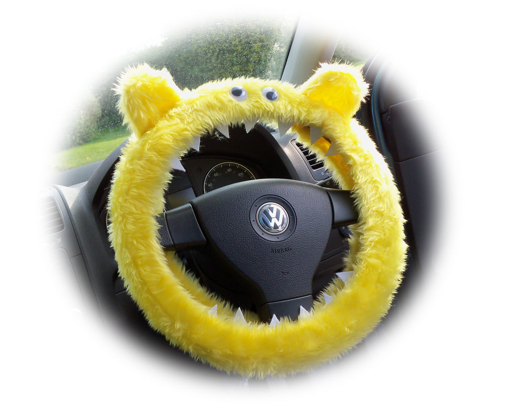 Fuzzy faux fur Yellow Monster steering wheel cover with googly eyes, ears, and teeth - Poppys Crafts