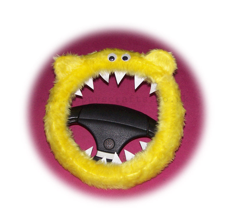 Fuzzy Faux Fur Yellow Monster Steering Wheel Cover With Googly Eyes Ears And Teeth