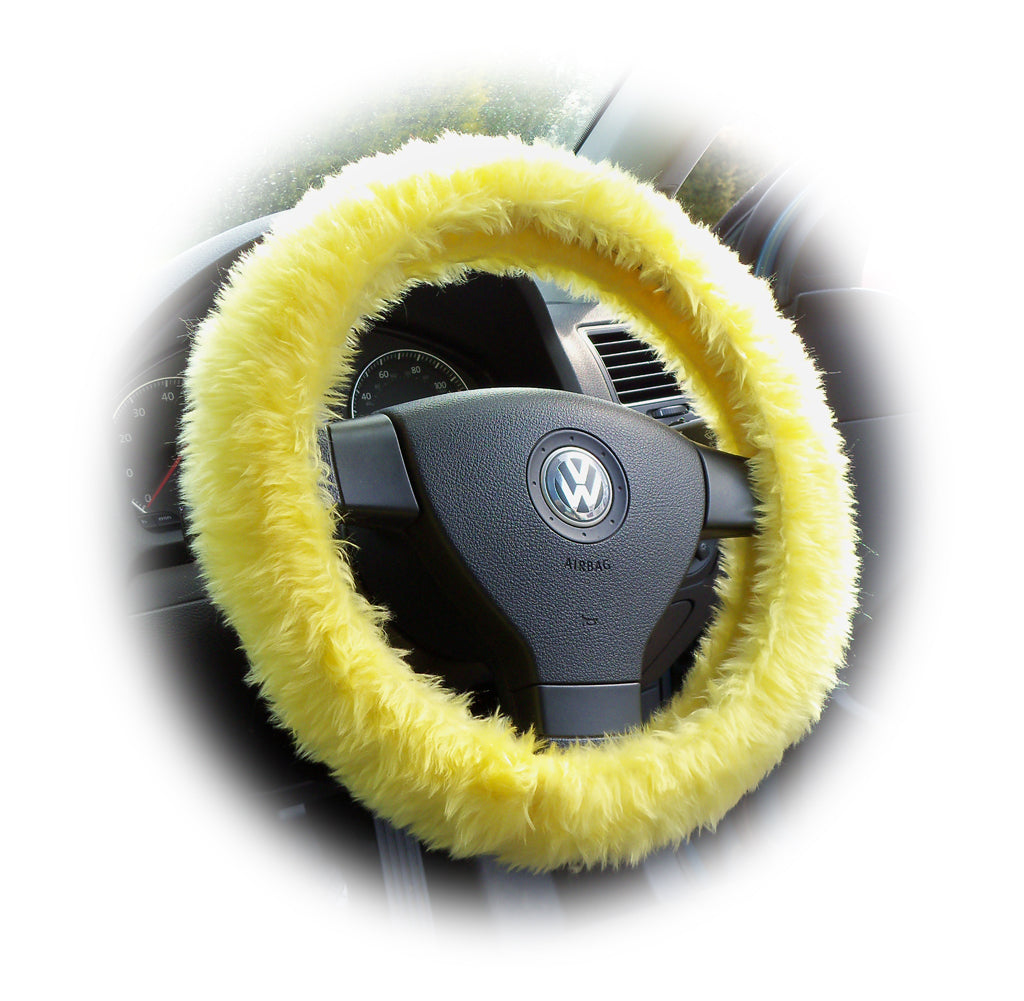 Sunshine Yellow fuzzy faux fur car steering wheel cover - Poppys Crafts