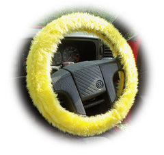 Sunshine Yellow Car Steering wheel cover & matching fuzzy faux fur seatbelt pad set - Poppys Crafts  - 2