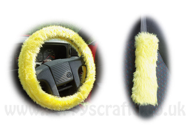 Sunshine Yellow Car Steering wheel cover & matching fuzzy faux fur seatbelt pad set - Poppys Crafts  - 1