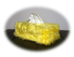 Yellow Fluffy faux fur Rectangular Tissue Box Cover - Poppys Crafts
