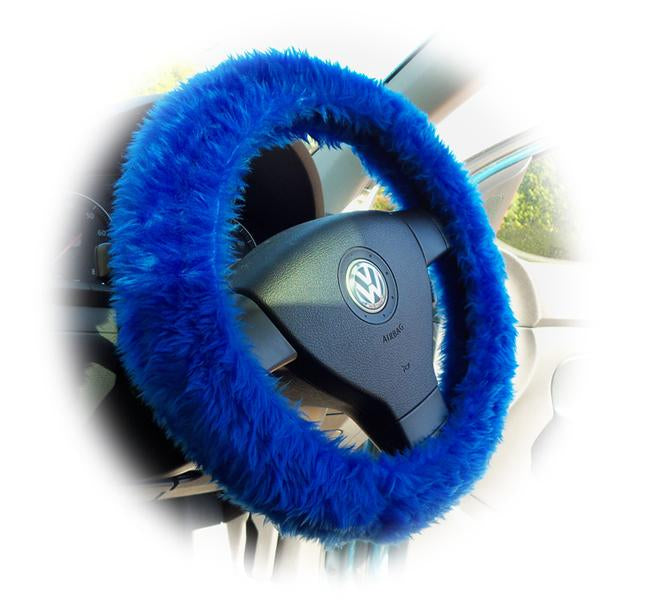 Royal Blue fuzzy faux fur steering wheel cover with white bow