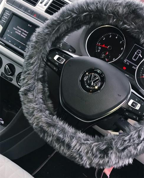 Dark Grey fuzzy steering wheel cover
