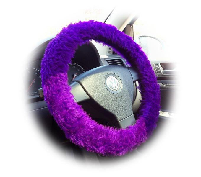 Lilac fuzzy steering wheel cover with pink bow