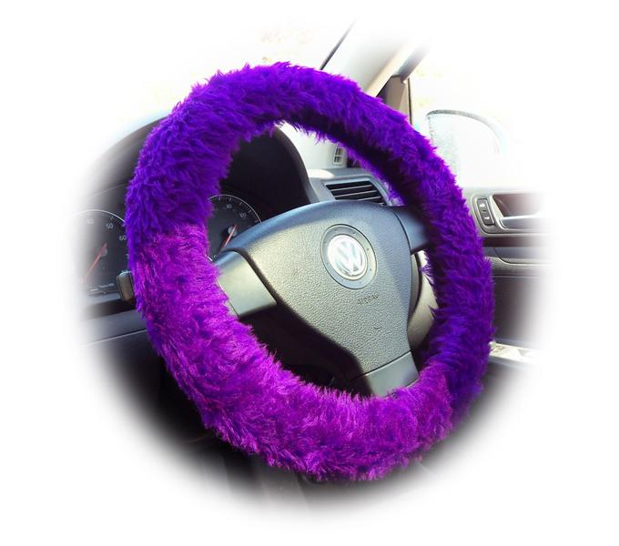 White fluffy steering wheel cover with white fluffy seat belt pads