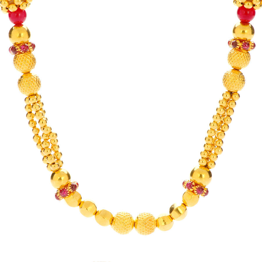 Choker Gold Necklace With Red Beads