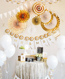 BASICS PARTY FANS-GOLD FOIL