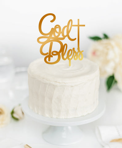 Acrylic Cake Topper 'GOD BLESS'