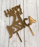 CUSTOM ACRYLIC CAKE TOPPERS - MIRROR & GLITTER COLOURS