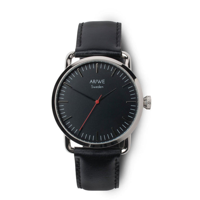 AR/WE Sweden (arweswe and arwe sweden) black watch with genuine black leather strap. Simplistic and minimalistic watch from Sweden for both him and her.