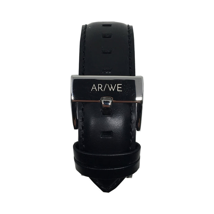 AR/WE Sweden (arweswe and arwe sweden) black leather watch strap (band). Simplistic and minimalistic watch strap for both him and her. 20mm watch strap.