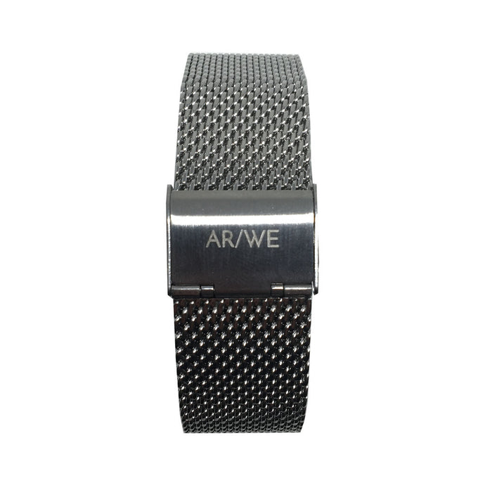 AR/WE Sweden (arweswe and arwe sweden) silver mesh watch strap (band). Simplistic and minimalistic watch strap for both him and her. 20mm watch strap.