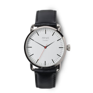 AR/WE Sweden (arweswe and arwe sweden) white watch with genuine black leather strap. Simplistic and minimalistic watch from Sweden for both him and her.