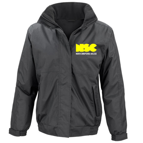 NSC Men's Essential College Jacket. Available in Black or Grey