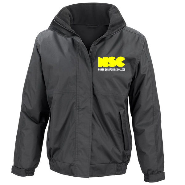NSC Women's Essential College Jacket. Available in Black or Grey