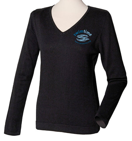 Ladies Swimtime Offie Black V-Neck Sweater