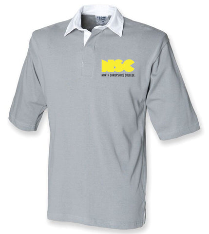 NSC Premium Short Sleeved Rugby Shirt. Available in Black or Grey