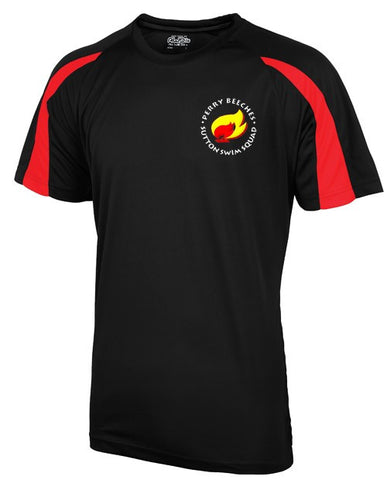 Beeches Senior Black/red Contrast Performance Tee