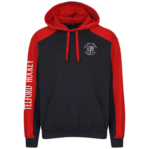 T & W Hockey Club Senior Navy/Red contrast hoodie
