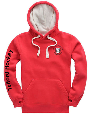 T & W Hockey Club pullover adult hoodie - red