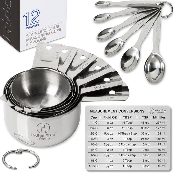 12 piece Measuring Cups & Spoons with Conversions Magnet