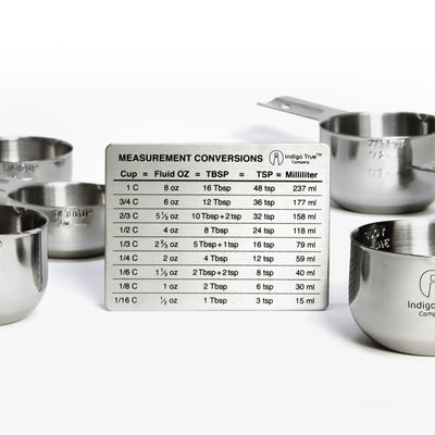 6 piece Measuring Cups Set with Conversions Magnet