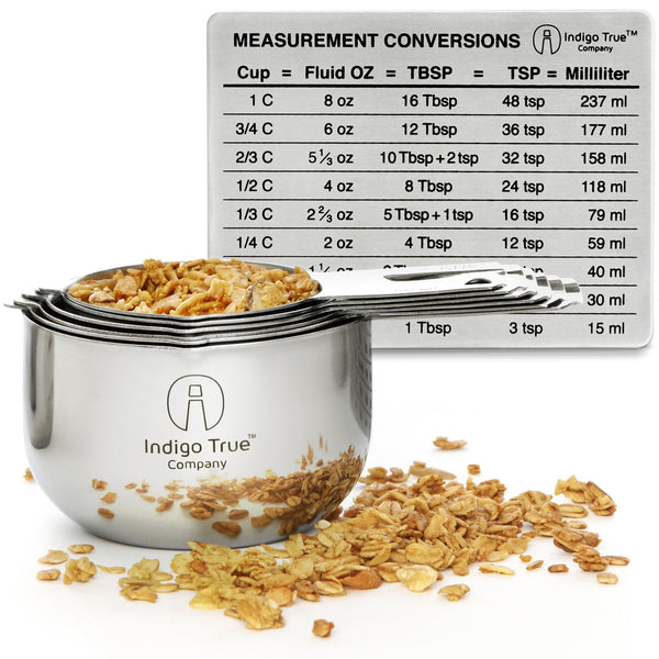 Stainless Steel Measuring Cups 6 Piece Stackable Set with Measurement Conversions Magnet