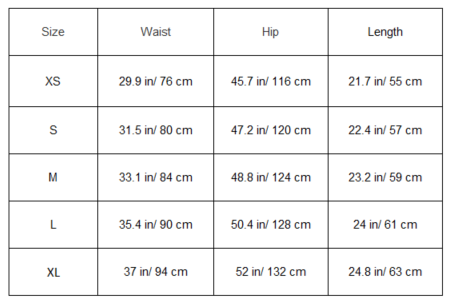 Casual Samurai Shorts Sizing table