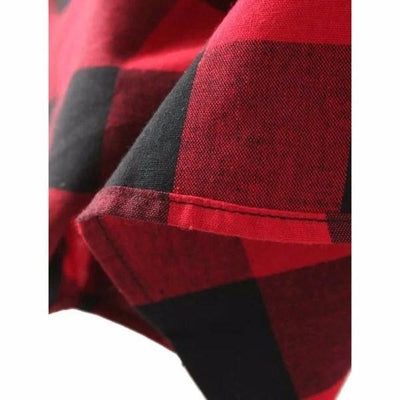 NinjApparel - Extended Plaid - Red - Material Detail
