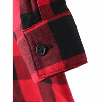 NinjApparel - Extended Plaid - Red - Button Detail