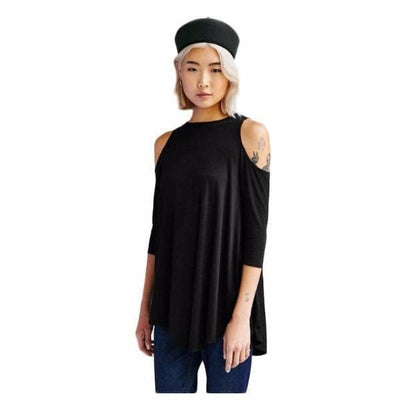 NinjApparel - Extended Cut Out Tee - Front -  Black