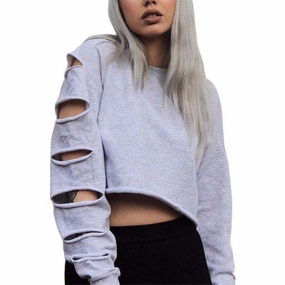Slashed Sleeve's Sweater - NinjApparel - Grey Front View