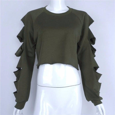 Slashed Sleeve's Sweater - NinjApparel - Green Front View