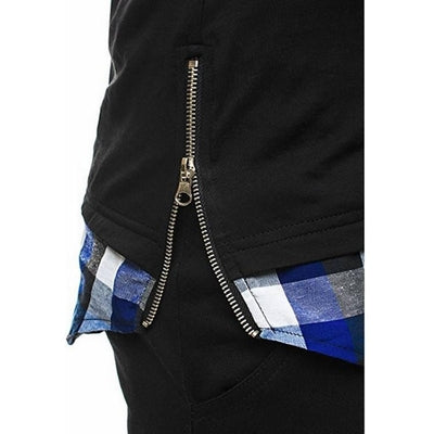 Hooded Chequer Tee - NinjApparel - Blue Zip View