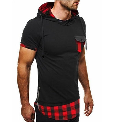 Hooded Chequer Tee - NinjApparel - Red Front View 1