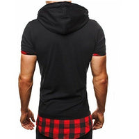 Hooded Chequer Tee - NinjApparel - Red Back View