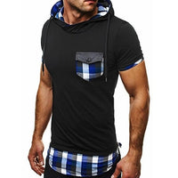 Hooded Chequer Tee - NinjApparel - Blue Front View 1