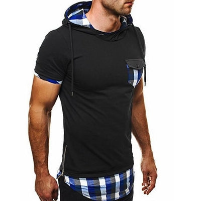 Hooded Chequer Tee - NinjApparel - Blue Front View 2