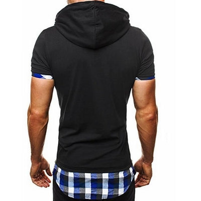 Hooded Chequer Tee - NinjApparel - Blue Back View