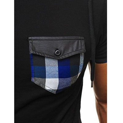 Hooded Chequer Tee - NinjApparel - Blue Pocket View