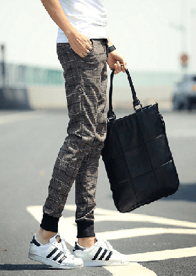 NinjApparel - Chequer Joggers - Coffee Side View