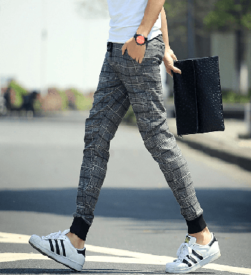 NinjApparel - Chequer Joggers - Grey Side View